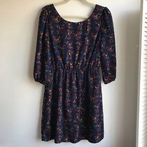 Pink Owl Navy Blue Bird Cage Print Dress